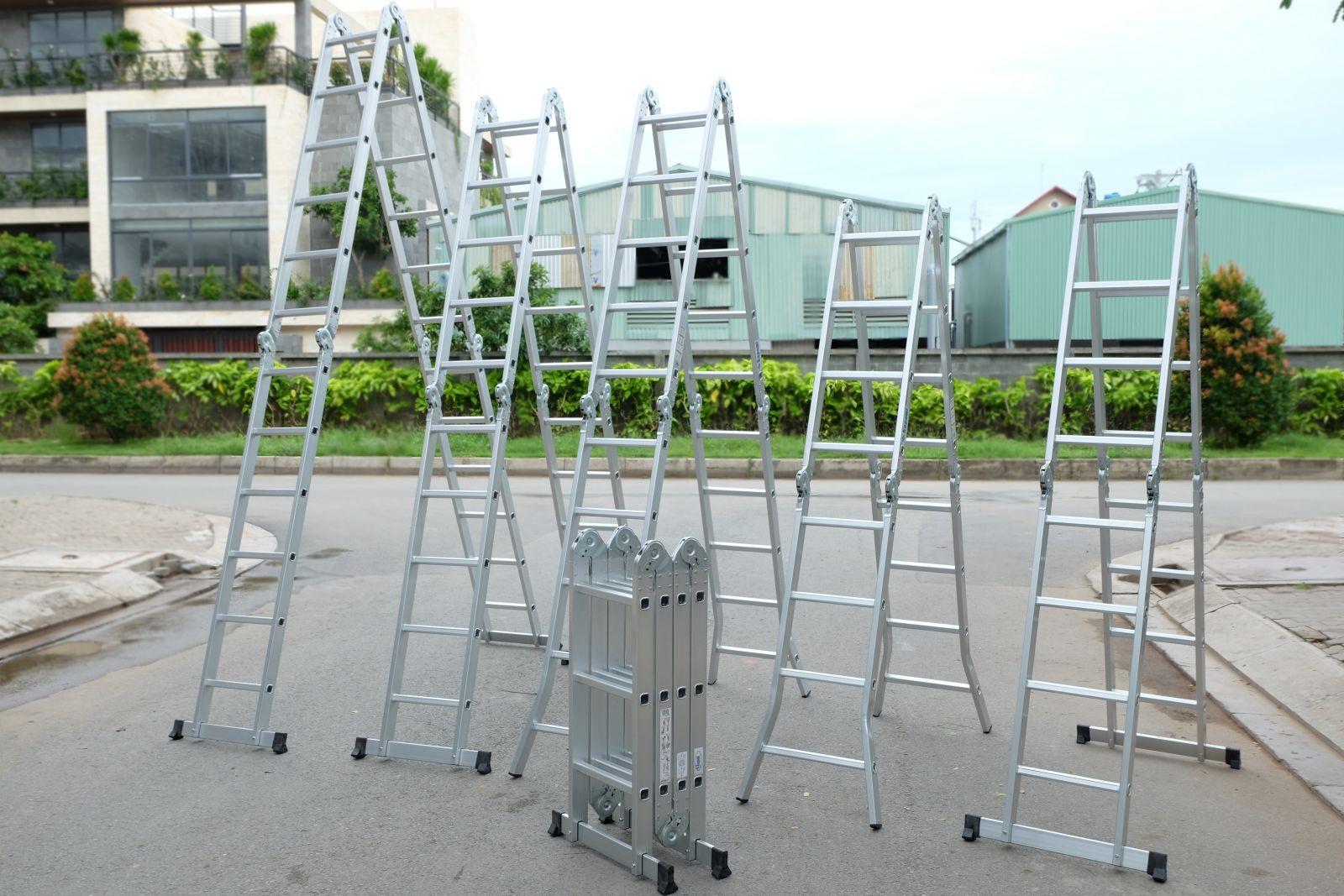 Thang Nhôm Gấp Khúc Đa Năng 4 Đoạn Kagami KT-67M (6,7m) Chân Thẳng